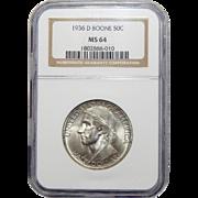1936-D Ngc MS64 Boone Half Dollar