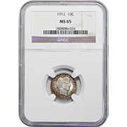 1912 Ngc MS65 Barber Dime