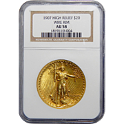 1907 Ngc AU58 $20 High Relief-Wire Edge St Guadens
