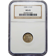 1838 Ngc MS65 No Drapery, Lg Stars Seated Liberty Half Dime