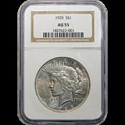 1928 Ngc AU55 Peace Dollar