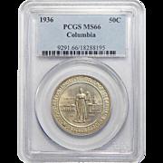 1936 Pcgs MS66 Columbia Half Dollar