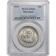 1934 Pcgs MS66 Maryland Half Dollar