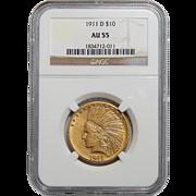 1911-D Ngc AU55 $10 Indian Gold