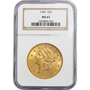 1906 Ngc MS63 $20 Liberty Head Gold