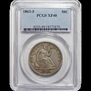 1863-S Pcgs XF40 Liberty Seated Half Dollar
