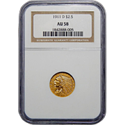 1911-D Ngc AU58 $2.50 Weak D Indian Gold
