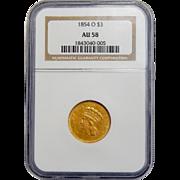 1854-O Ngc AU58 Three Dollar Gold