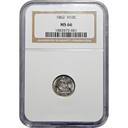 1862 Ngc MS66 Seated Liberty Half Dime