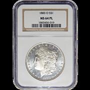 1883-O Ngc MS64PL Morgan Dollar