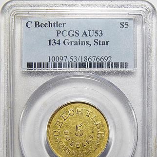 C Bechtler $5 K-20 134 Grains, Star AU53 Pcgs