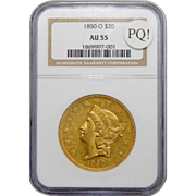 1850-O Ngc AU55 PQ! $20 Liberty Head Gold