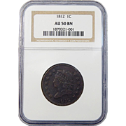 1812 NGC AU50BN Large Date Classic Head Cent