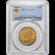 1906-S Pcgs AU50 $10 Liberty Head Gold