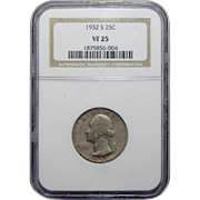 1932-S Ngc VF25 Washington Quarter