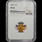1889 Ngc MS66 Gold Dollar