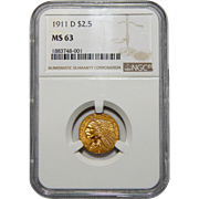1911-D Ngc MS63 $2.50 Strong D Indian Head Gold