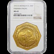 1915-S Ngc MS65 $50 Pan-Pac Octagonal Gold