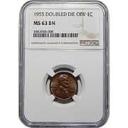 1955 Ngc MS63BN Doubled Die Obverse Lincoln Wheat Cent