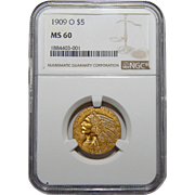 1909-O Ngc MS60 $5 Indian Gold