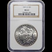 1889-CC Ngc MS61 Morgan Dollar