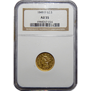1848-D Ngc AU55 $2.50 Liberty Head Gold