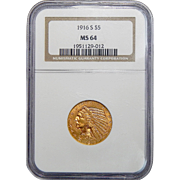 1916-S Ngc MS64 $5 Indian Gold