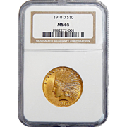 1910-D Ngc MS65 $10 Indian Gold