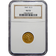 1843 Ngc AU53 $2.50 Liberty Head Gold