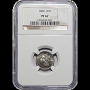 1880 Ngc PR67 Three-Cent Copper