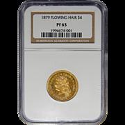 1879 Ngc PF63 $4 Flowing Hair Gold Stella