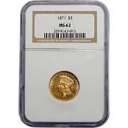 1871 Ngc MS62 $3 Gold