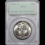 1945-S Pcgs MS64 Walking Liberty Half Dollar