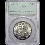 1946-D Pcgs MS64 Walking Liberty Half Dollar