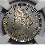 1903 Ngc PF64 Medallic Alignment, Mint Error Liberty Nickel