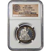 """1888 Ngc PF66CAM Ex: """"Col."""" E.H.R Green. Eric P. Newman Collection Liberty Seated Half Dollar"""