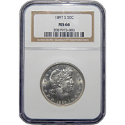 1897-S Ngc MS66 Barber Half Dollar