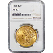 1861 Ngc MS62 $20 Liberty Head Gold