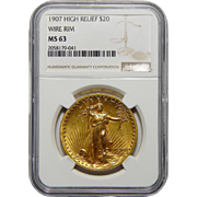 1907 Ngc MS63 $20 High Relief-Wire Edge St. Gaudens Gold