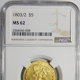 1803/2 Ngc MS62 $5 Draped Bust Gold