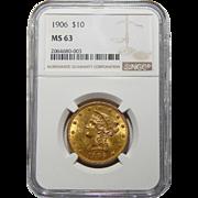 1906 Ngc MS63 $10 Liberty Head Gold