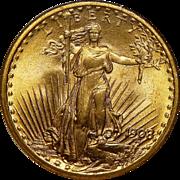 1908 Ngc MS67 $20 No Motto - Wells Fargo St. Gaudens Gold