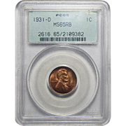 1931-D Pcgs MS65RB Lincoln Wheat Cent