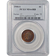 1908-S Pcgs MS64RB Indian Head Cent