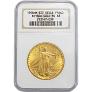 1908 Ngc MS68 $20 No Motto - Wells Fargo St. Gaudens Gold