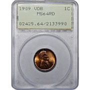 1909 VDB Pcgs MS64RD Lincoln Wheat Cent