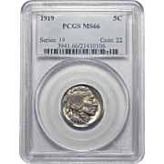 1919 Pcgs MS66 Buffalo Nickel
