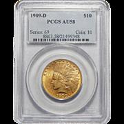 1909-D Pcgs AU58 $10 Indian Gold