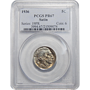 1936 Pcgs Satin PR67 Buffalo Nickel