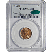 1916-D Pcgs/Cac MS65RD Lincoln Wheat Cent